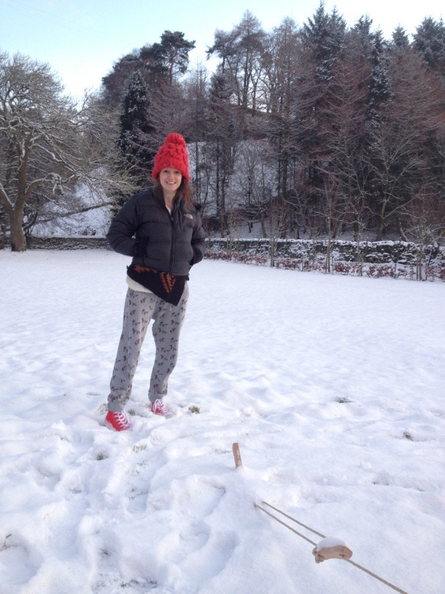 Claire Jamieson's interesting fashion choices to stay warm. Still rocking her Converse!
