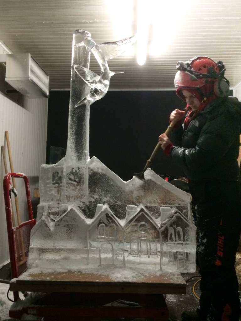 Claire with her sculpture in our Bradford ice studio