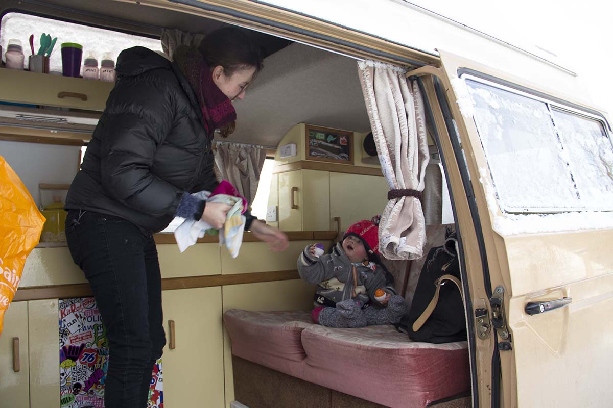 Claire and Floss in the VW Campervan