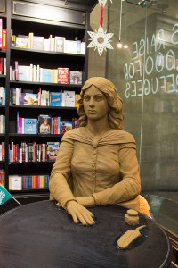 The Emily Bronte sand sculpture sitting in Waterstones, Bradford