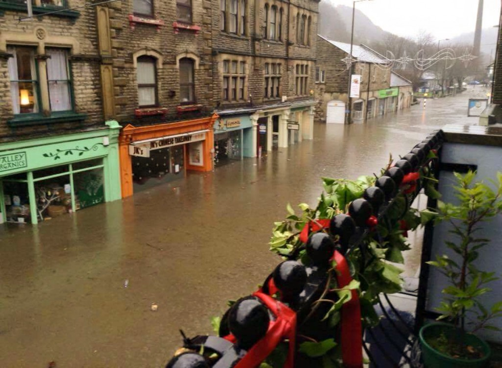 Image by Lisa Sciobtha of the devastating floods in Hebden Bridge