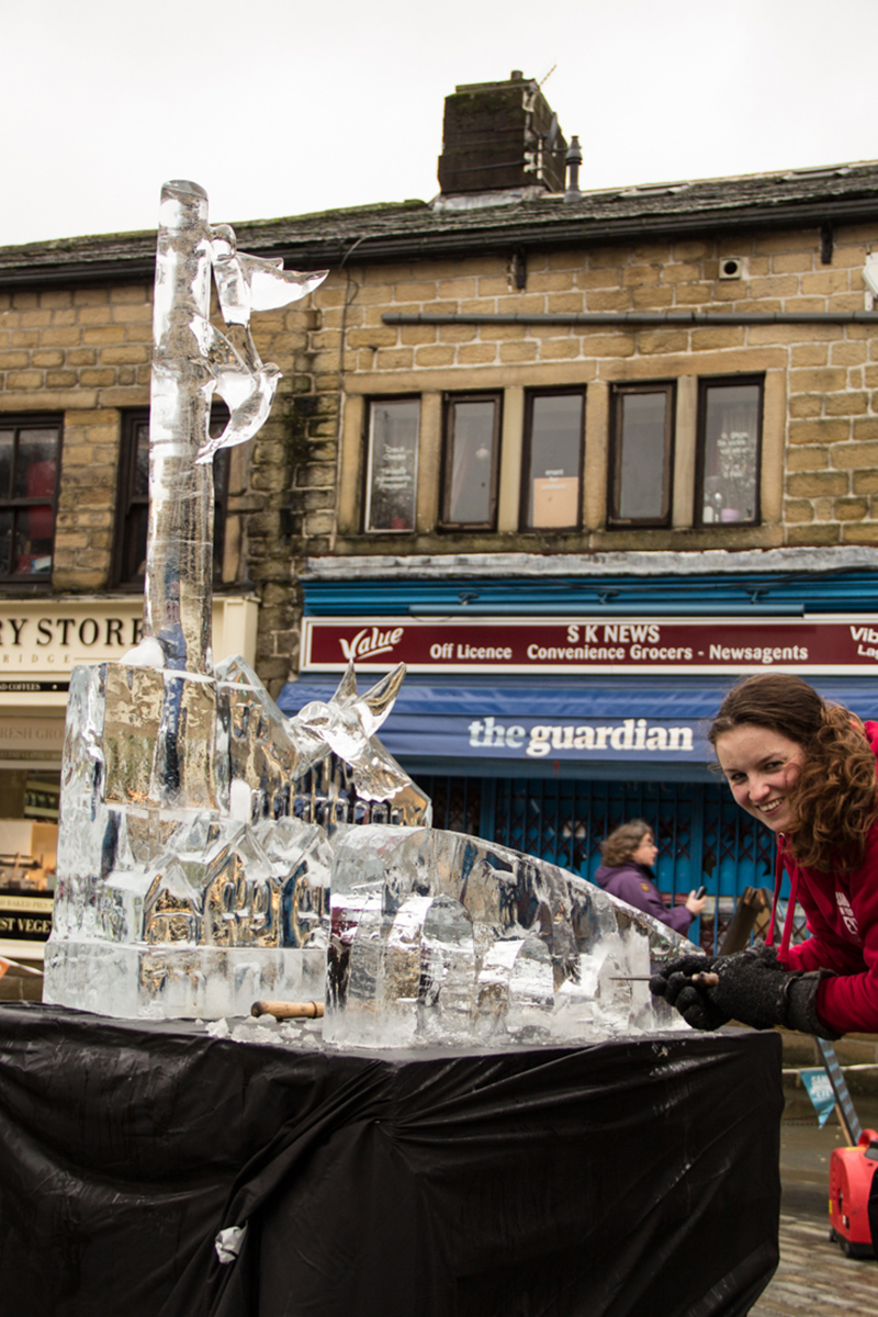 Lancashire born Claire Jamieson with her ice sculpture