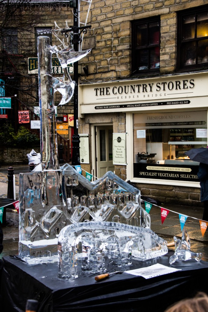 Live carve ice sculpture in Hebden Bridge, West Yorkshire