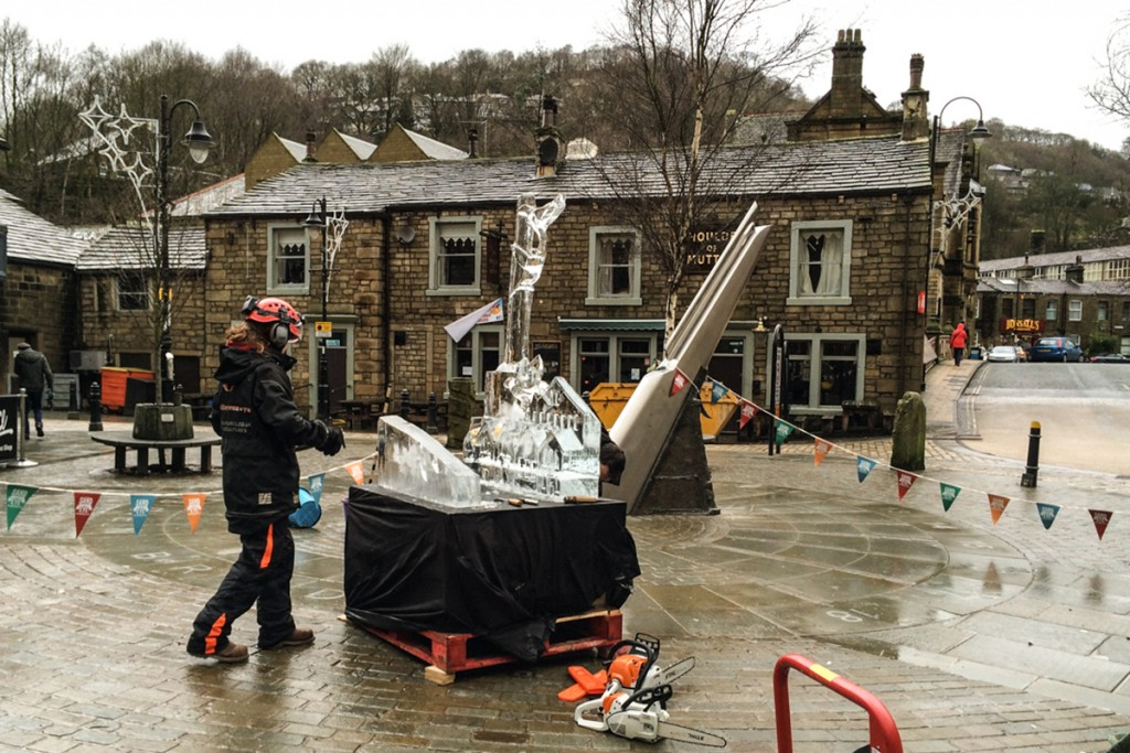 Ice sculpture live event, West Yorkshire