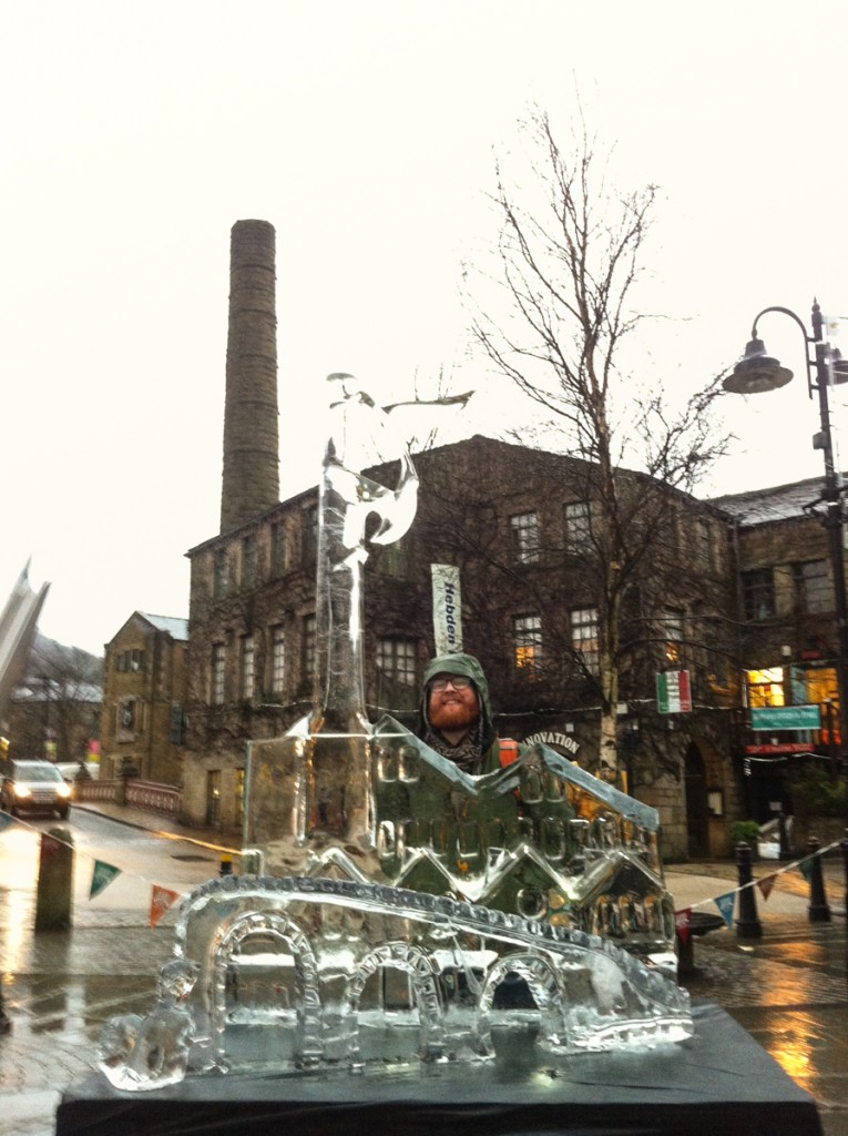 Jamie Wardley with the ice sculpture in Hebden Bridge