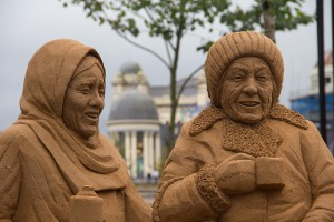 Sand sculpture in City Park, Bradford