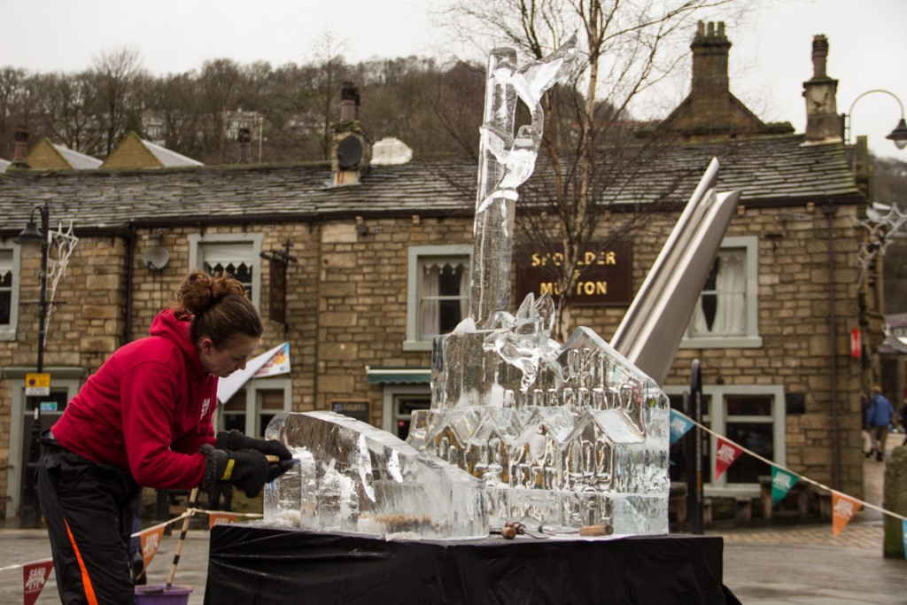 Live carve ice sculpture Hebden Bridge, West Yorkshire