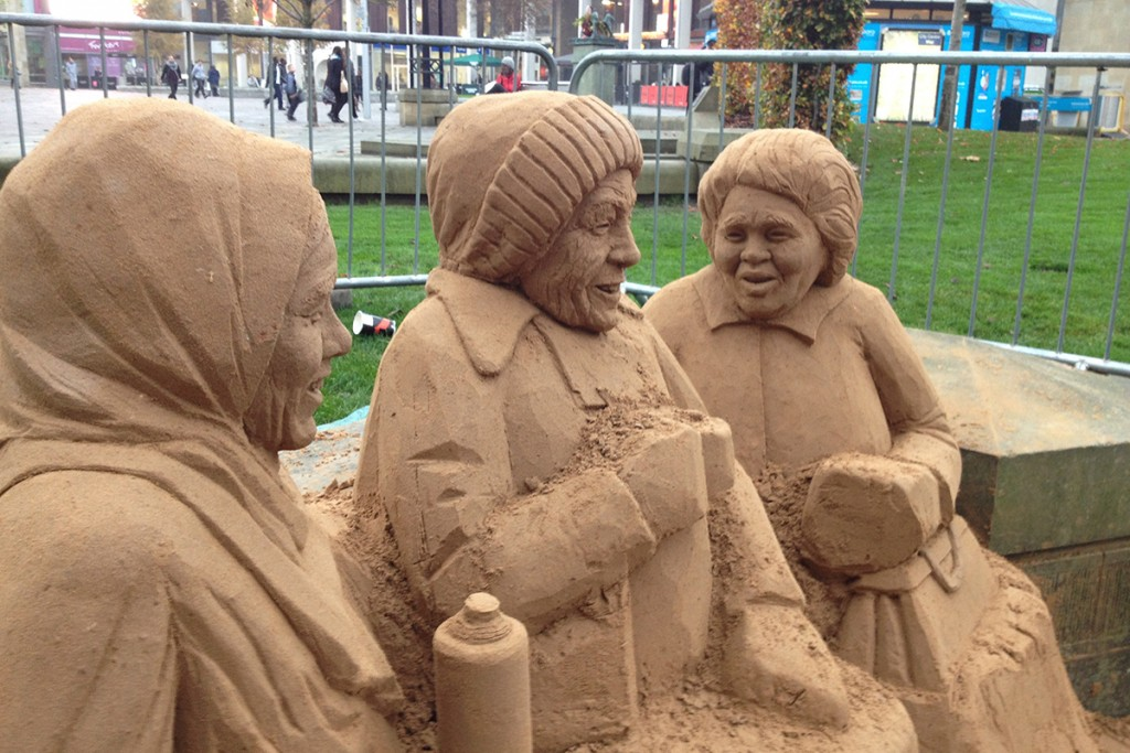 Part sculpted sand sculpture in City Park, Bradford