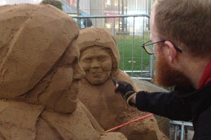recording the sand sculpting process with UK sand sculptor Jamie Wardley