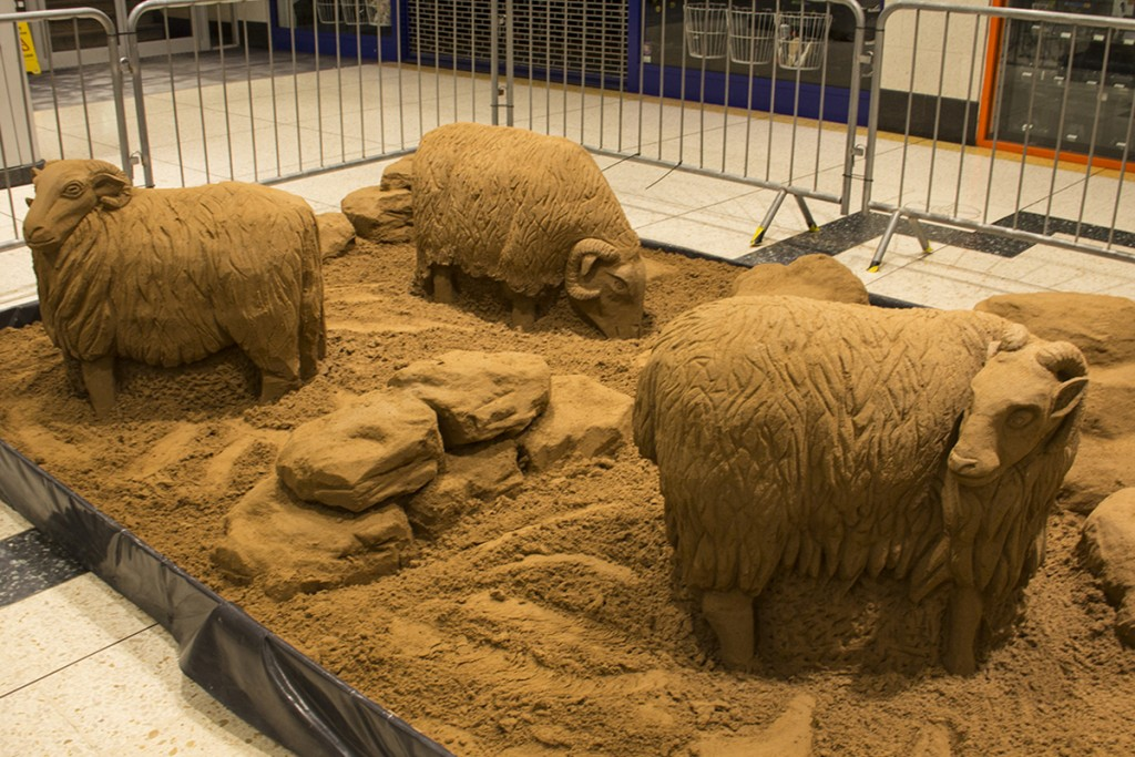 Sheep sand sculpture made inside the Kirkgate Shopping Centre, Bradford