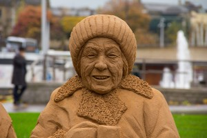 Lucy, sculpted in sand for the Bradford sand sculpture trail