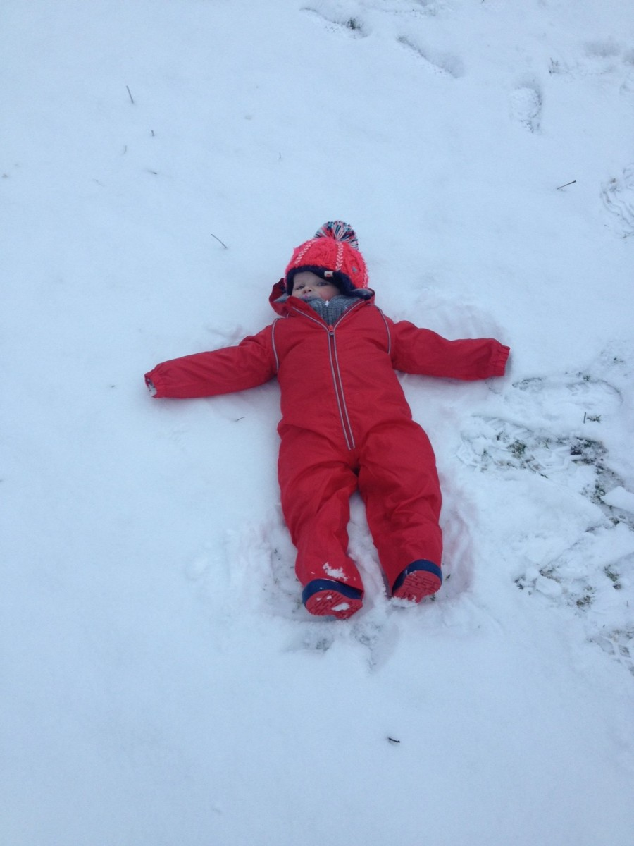 Baby snow angels at Hardraw Force