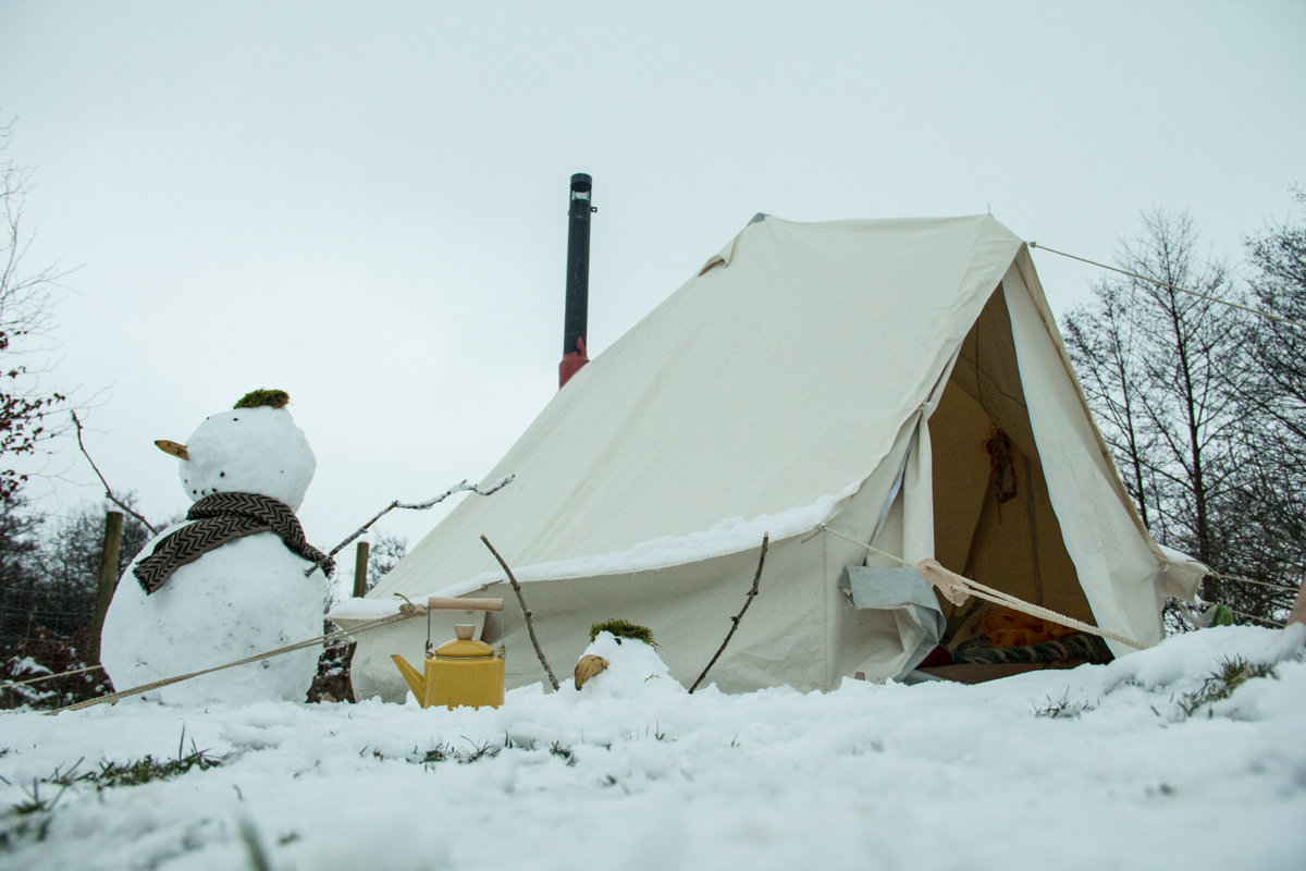 Adventures in the snow with Bungle and the bell tent.