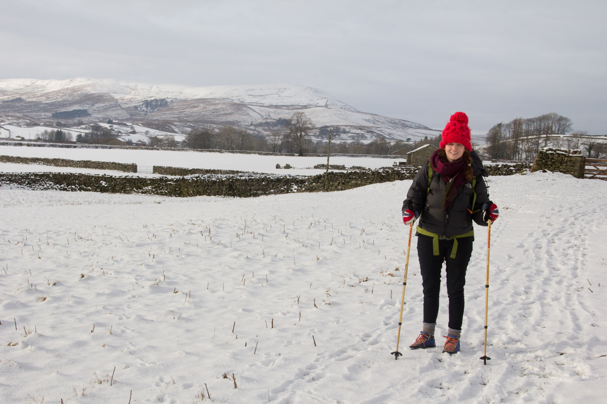 Claire walking in the snow