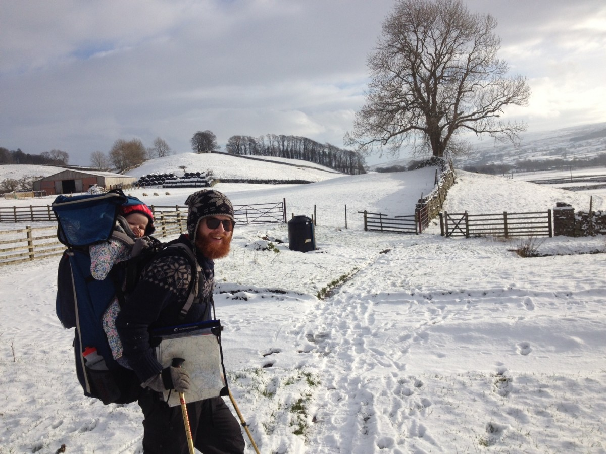 Jamie Wardley walking in the snow near Hawes
