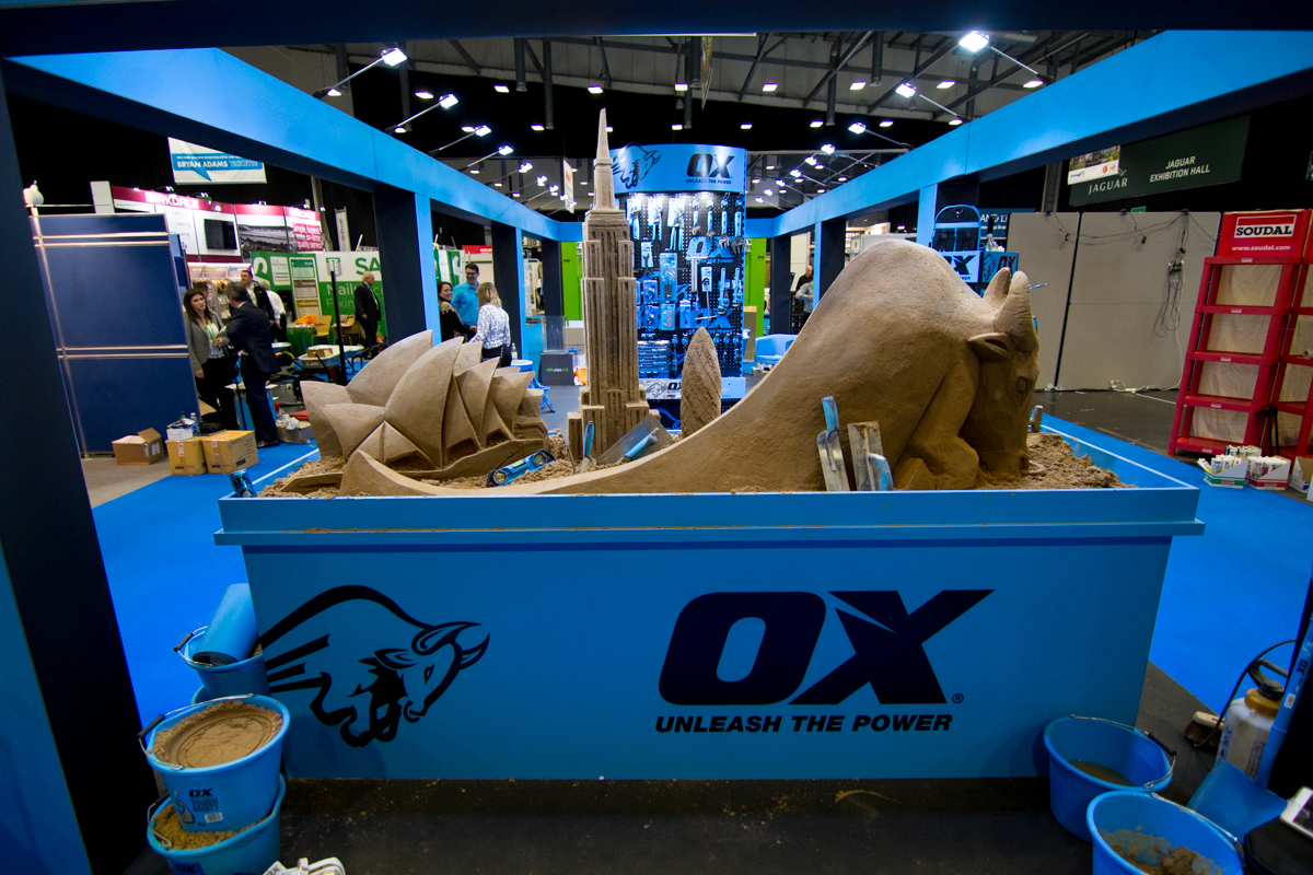 Sand In Your Eye create a sand sculpture for Ox Tools