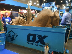UK sand and ice sculptor Jamie Wardley sculpts at a trade show
