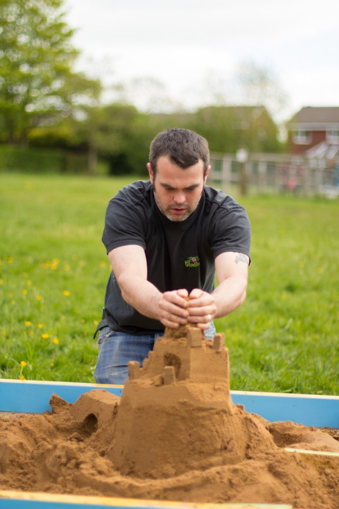 Barnes having a go at sand sculpture