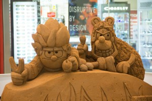 Dennis the Menace and Gnasher sand sculpture by Jamie Wardley