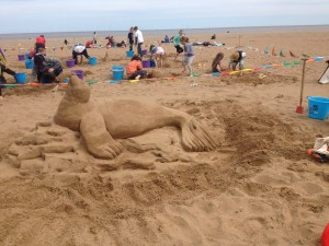 Seal sand sculpture made during the weekend of sand sculpture in Skegness