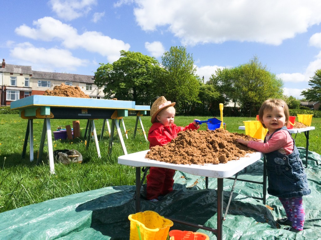 Toddler fun, sand sculpture creative play