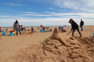 UK sand sculptor Claire Jamieson finishes her sculpture in Skegness