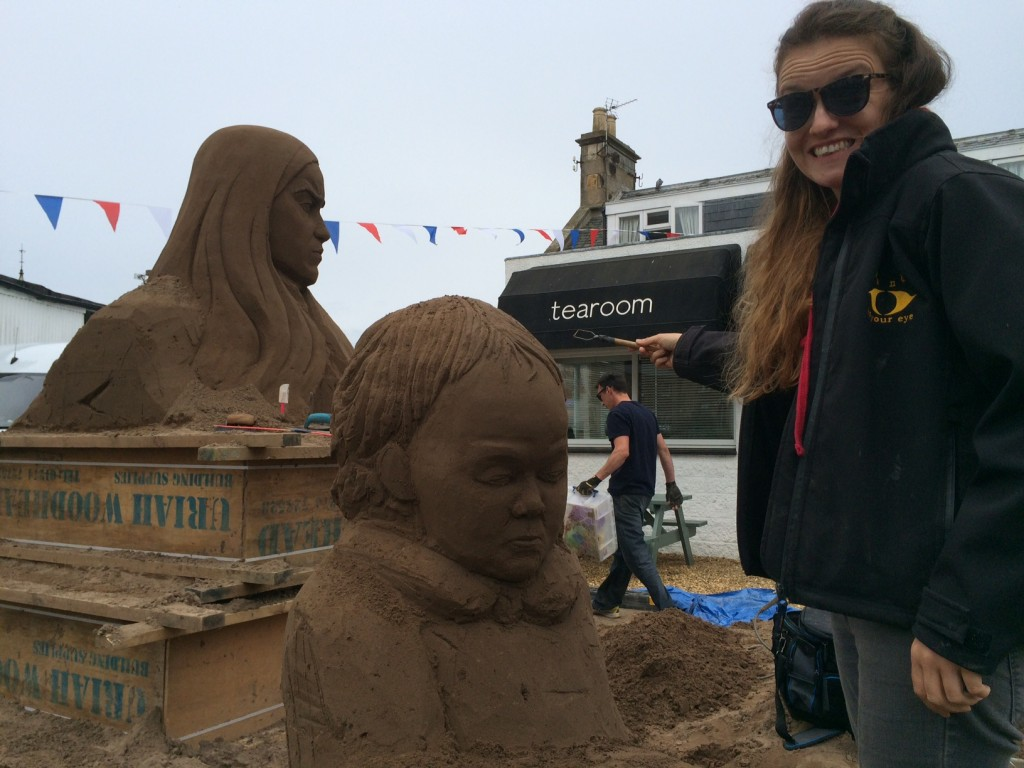 Claire Jamieson's sand sculpture gets underway