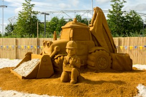 Bob The Builder and Scoop sand sculpture one of the events at Olympic Park beach