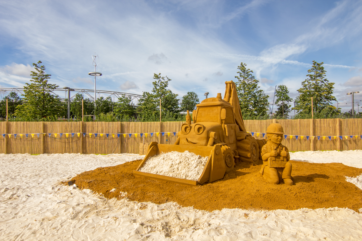 Bob The Builder sand sculpture on a city beach in London