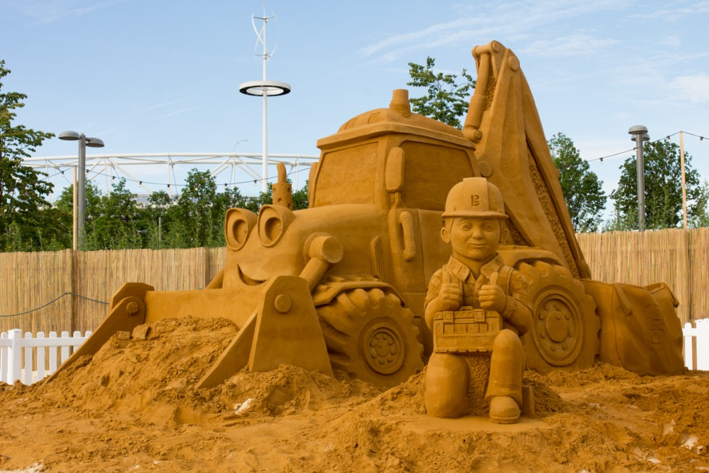 Sand In Your Eye create a giant Bob The Builder sand sculpture at the urban beach by the Olympic park in London
