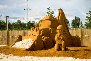 Professional sand sculpture of Bob The Builder