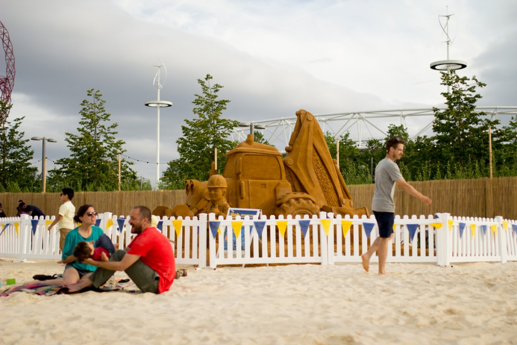 Family entertainment, sand sculpture at Beach East, London