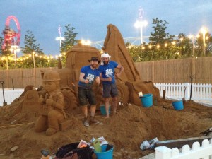 Jamie and Rodrigo after a long day sand sculpting