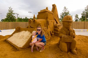 Mother and Daughter sand sculpting team!