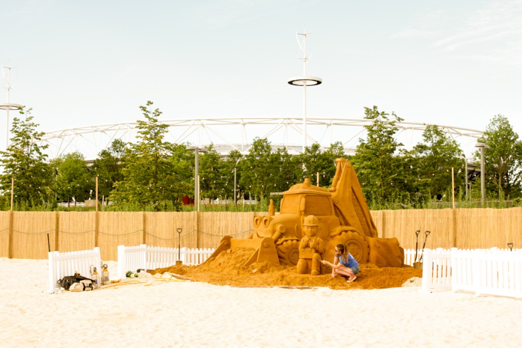 Claire Jamieson at the Bob The Builder sand sculpture event at Olympic Park