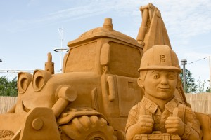 Bob the Builder sand sculpture, at beach east stratford, by Sand In Your Eye
