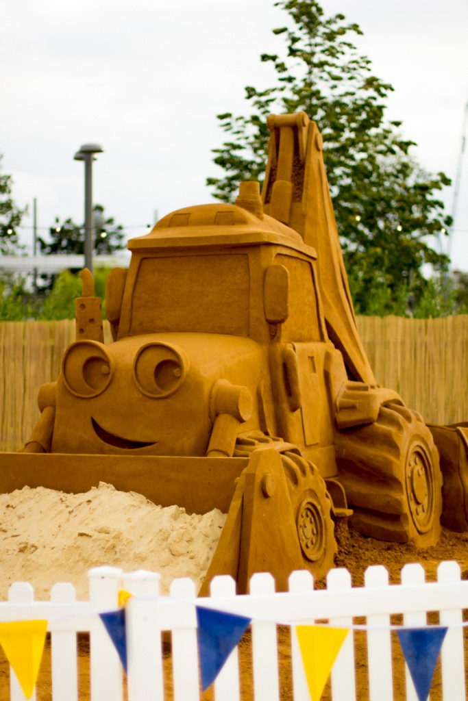 Huge Bob The Builder and Scoop sand sculpture we created at Beach East urban beach in London