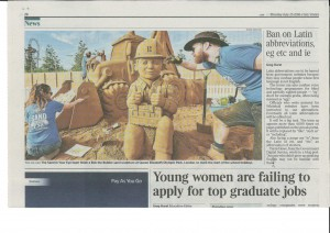 The Times newspaper coverage of the sand sculpture