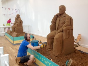 sand sculptures in progress