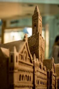 Close up of Bradford City Hall sand sculpture