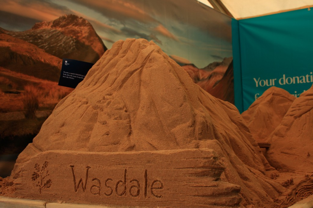 Lake District landscape, National Trust sand sculpture