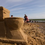 sand sculpture of a toilet