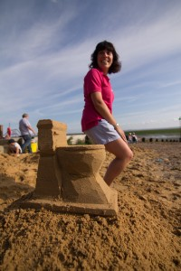 sitting on the sand toilet