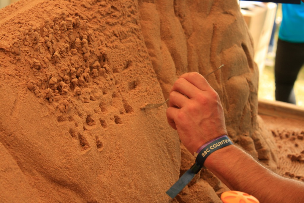 Texture in sand sculpture at our workshops for Countryfile Live