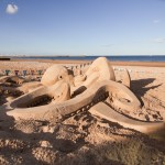 Beach sand sculpture in Northumberland