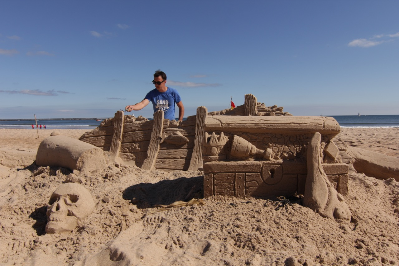 Tom with another beach sand sculpture from Sand In Your Eye