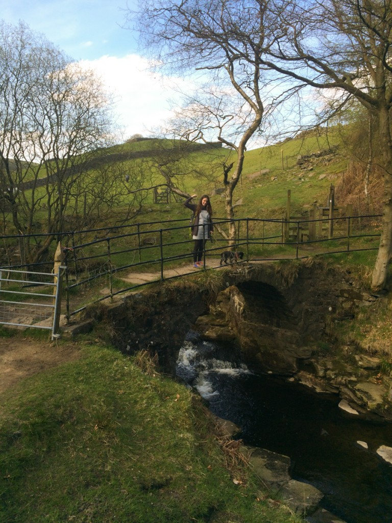 Claire Jamieson at Lumb Falls after finally finding the location!