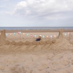 Family events, beach sand sculptures