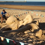 Sand sculptures on North East Beaches