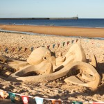 Sea creatures sand sculpture